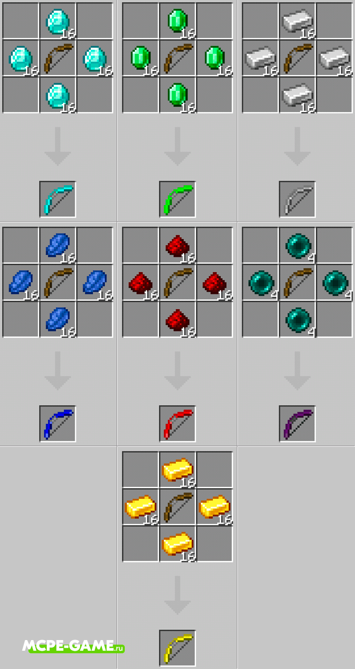 New Bow Crafting Recipes from the More Bows mod in Minecraft PE