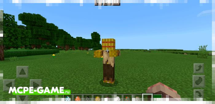 Соломенный зомби из мода More Zombies в Майнкрафт