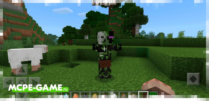 Эндер-зомби из мода More Zombies в Майнкрафт