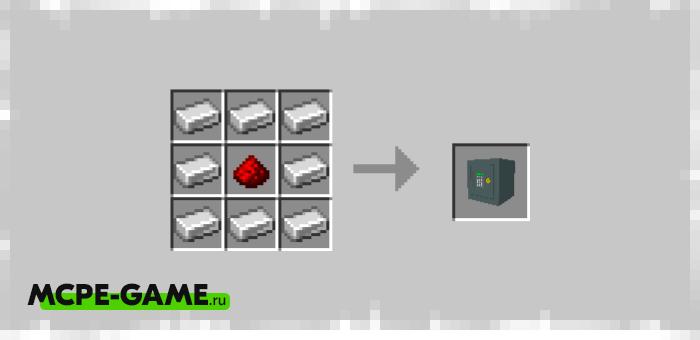 Рецепт крафта сейфа из мода Personal Safe для Minecraft PE