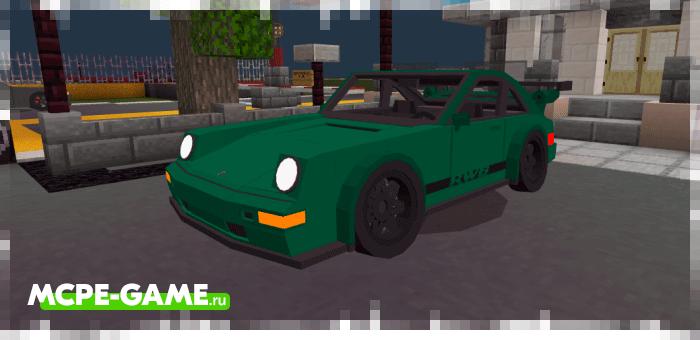Porsche 964 в Майнкрафт в зеленом цвете