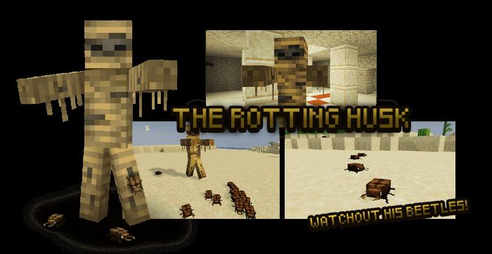 Зомби-мумия из мода Rotten Creatures на Майнкрафт ПЕ