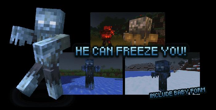 Замерзшие зомби из мода Rotten Creatures на Майнкрафт ПЕ