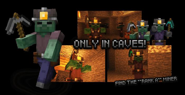 Оживший шахтер из мода Rotten Creatures на Майнкрафт ПЕ