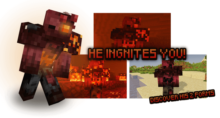 Сгоревший зомби из мода Rotten Creatures на Майнкрафт ПЕ