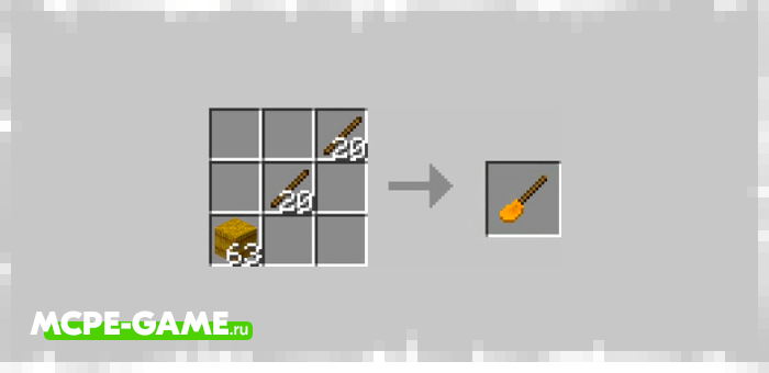 Recipe for Broomstick Crafting from the Wizardry mod in Minecraft