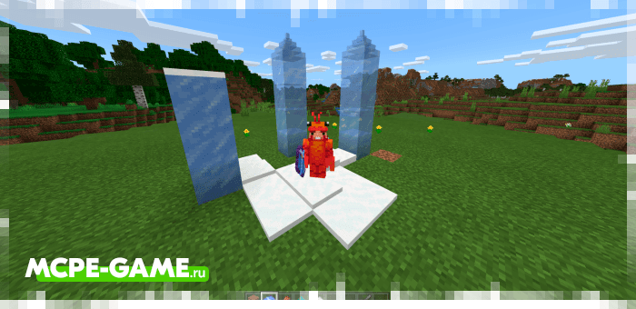 Cold spell from the Wizardry magic mod in Minecraft