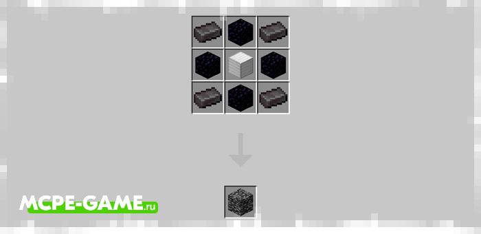 Рецепт крафта коренной породы в Майнкрафт из мода Bedrock Tools And Armor