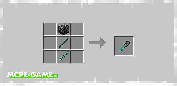 Рецепт крафта лопаты из коренной породы в Майнкрафт из мода Bedrock Tools And Armor