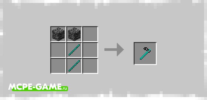 Рецепт крафта плуга из коренной породы в Майнкрафт из мода Bedrock Tools And Armor