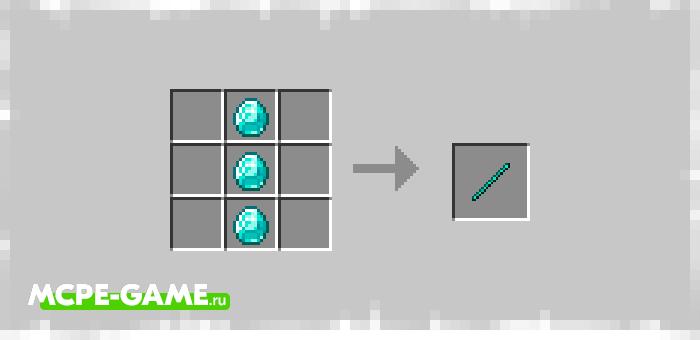 Рецепт крафта алмазной рукоятки в Майнкрафт из мода Bedrock Tools And Armor