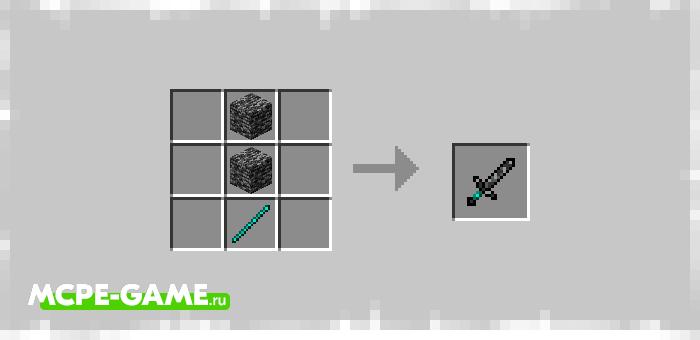 Рецепт крафта меча из коренной породы в Майнкрафт из мода Bedrock Tools And Armor
