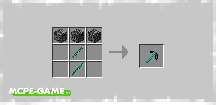 Рецепт крафта кирки из коренной породы в Майнкрафт из мода Bedrock Tools And Armor