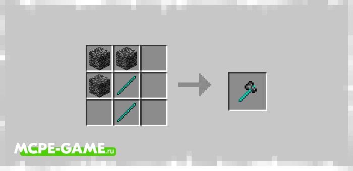 Рецепт крафта топора из коренной породы в Майнкрафт из мода Bedrock Tools And Armor