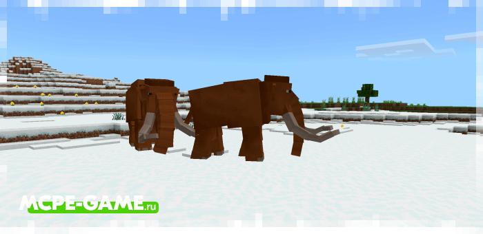 Мамонты из мода Cenozoic Reborn для Minecraft