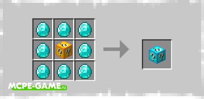 Diamond Lucky Block from Elingo's Lucky Block mod in Minecraft