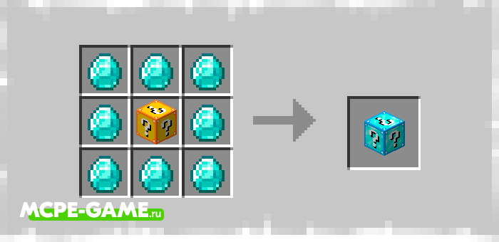 Алмазный Лаки Блок из мода Elingo's Lucky Block на Майнкрафт