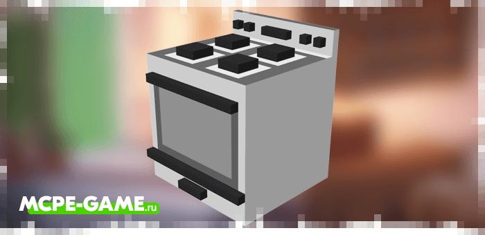 Плита из мода Kitchen Appliances на Майнкрафт