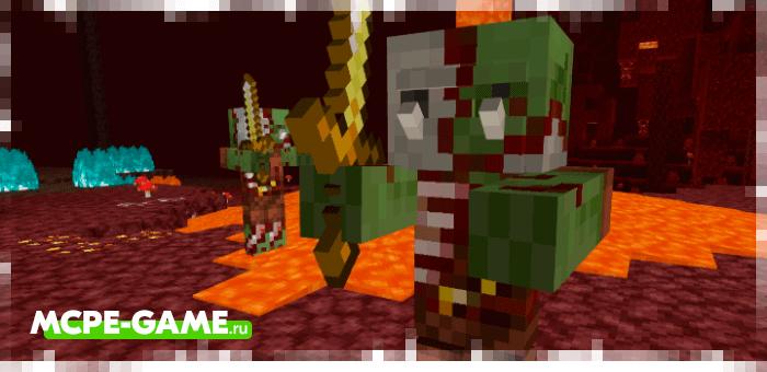 Орки-зомби из мода Nether Orcs на Майнкрафт
