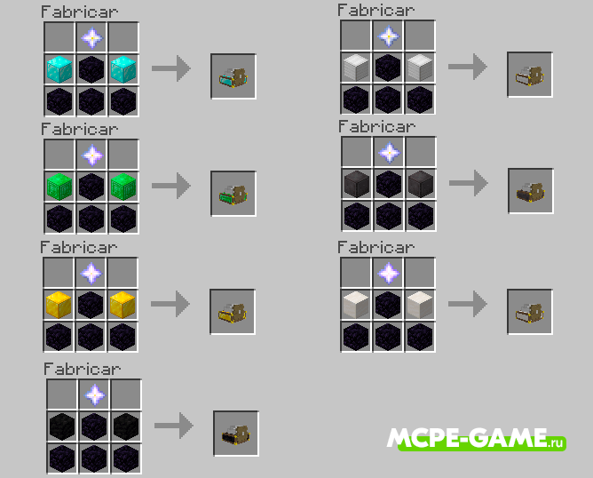 Рецепты крафта генераторов руды из мода Ore Generator в Minecraft