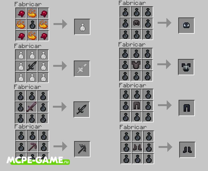 Crafting Recipes from the VenomCraft mod in Minecraft