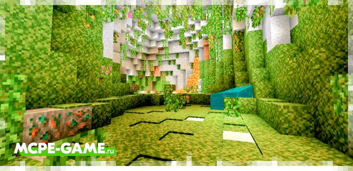 Пещеры с густой растительностью из мода Caves & Caves на Майнкрафт