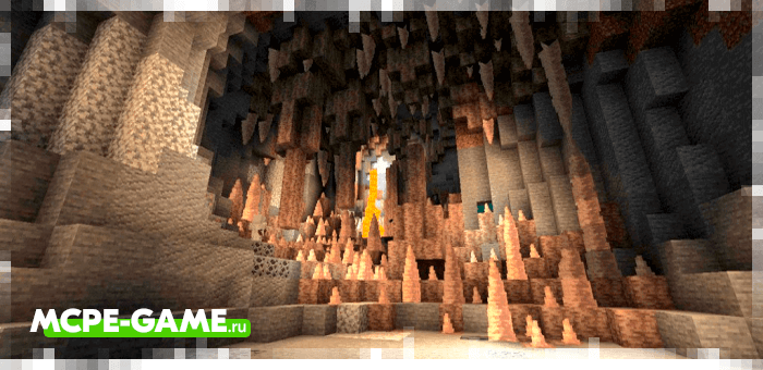 Сталактитовые пещеры из мода Caves & Caves на Майнкрафт