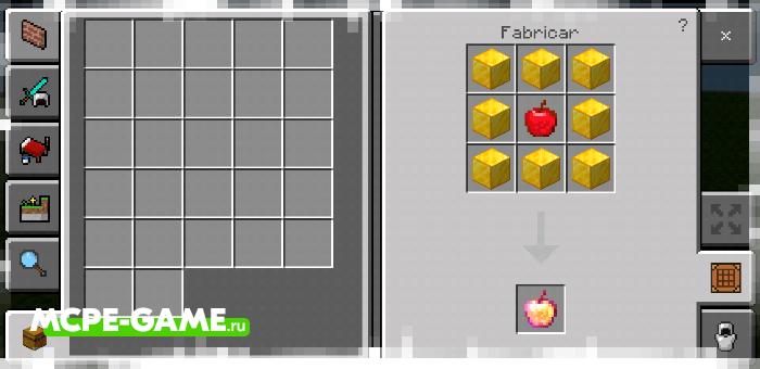 Рецепт крафта зачарованного золотого яблока с модом Crafting of Egg Generator and Items в Майнкрафт