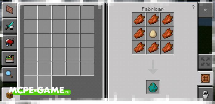 Рецепт крафта яйца призыва зомби с модом Crafting of Egg Generator and Items в Майнкрафт