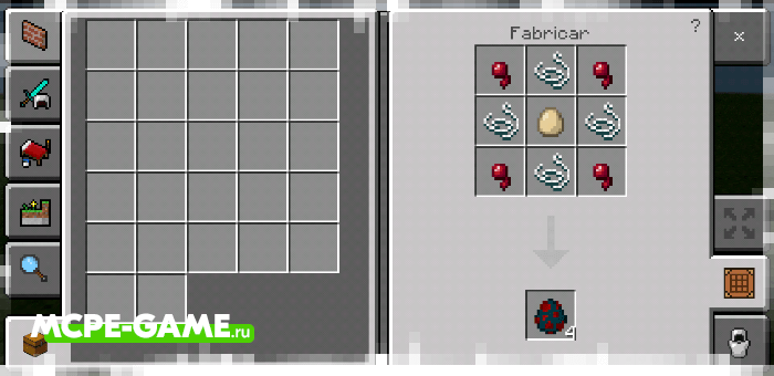 Рецепт крафта яйца призыва пещерного паука с модом Crafting of Egg Generator and Items в Майнкрафт