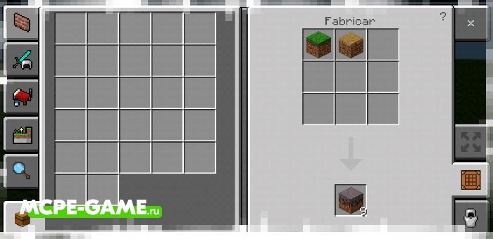 Рецепт крафта блока мицелия с модом Crafting of Egg Generator and Items в Майнкрафт