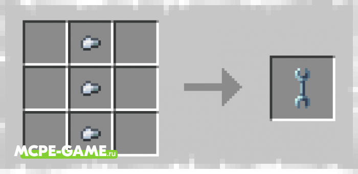 Recipe for Wrench Crafting from the More Useful Chests mod for Minecraft