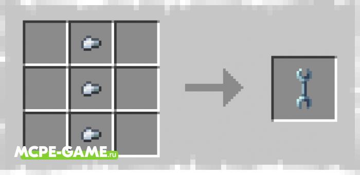 Рецепт крафта гаечного ключа из мода More Useful Chests для Minecraft