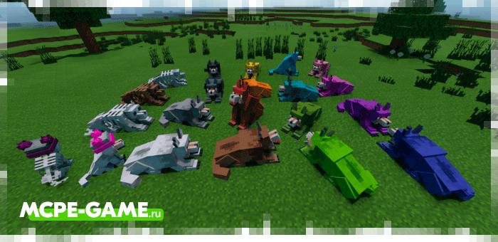 Разноцветные волки из мода Mutant Wolves для Minecraft