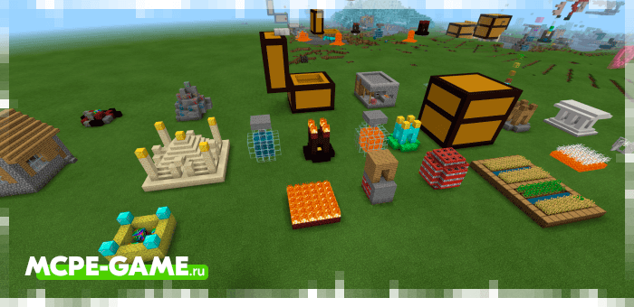 Примеры случайных построек и структур из мода Rainbow Lucky Blocks в Minecraft