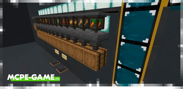 Пример полностью готового конвейера из мода CROP'S Filter в Minecraft