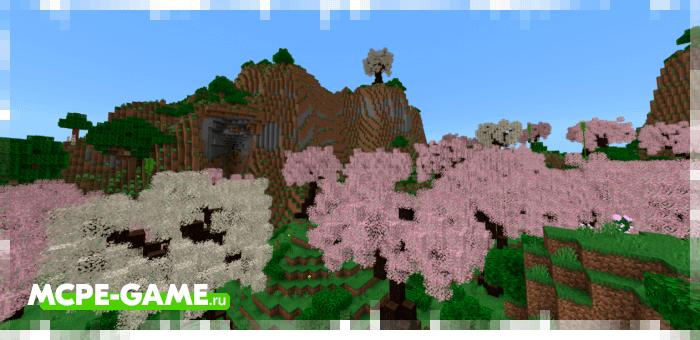Цветущий вишневый лес из мода Nature's Spirit для Minecraft