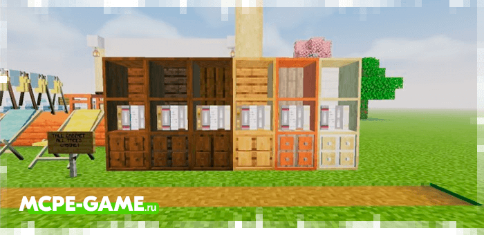 Bookcases from the Redred Craft mod for Minecraft