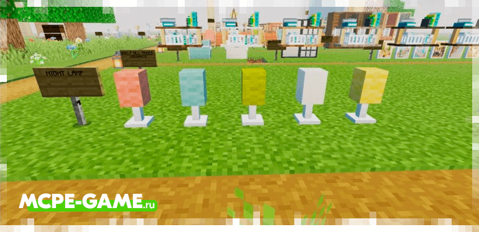 Shelves and lamps from the Redred Craft mod for Minecraft
