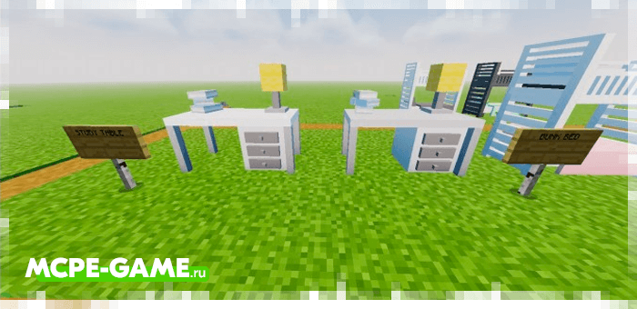 Desks from the Redred Craft mod for Minecraft