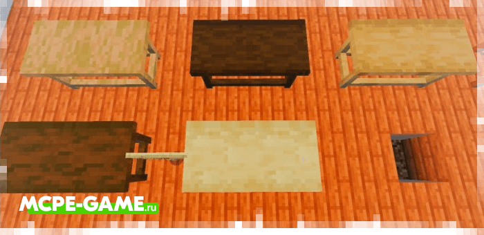 Kitchen tables and chairs from the Redred Craft mod for Minecraft