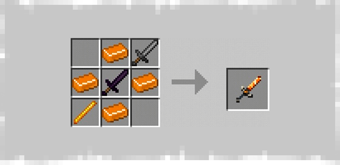 Mythical Sword from the Super Swords mod for Minecraft