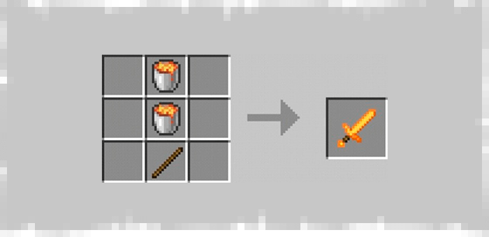 Lava Sword from the Super Swords mod for Minecraft