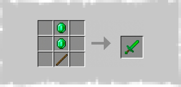 Emerald Sword from the Super Swords mod for Minecraft