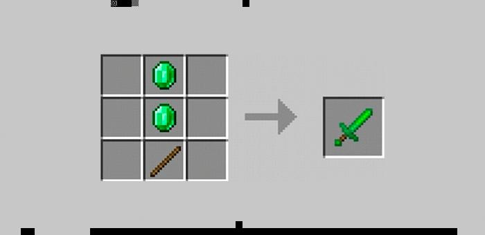 Изумрудный меч из мода Super Swords для Minecraft