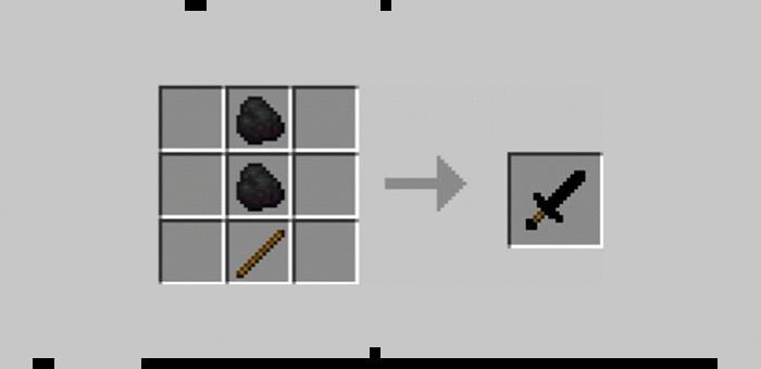 Угольный меч из мода Super Swords для Minecraft