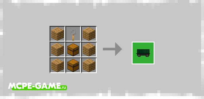 Рецепт крафта грузового вагона из мода Trains! в Minecraft