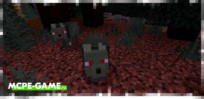 Зомбированный волк из мода Wolves+ для Minecraft