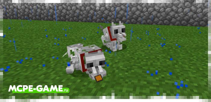 Волки-скелетоны из мода Wolves+ для Minecraft
