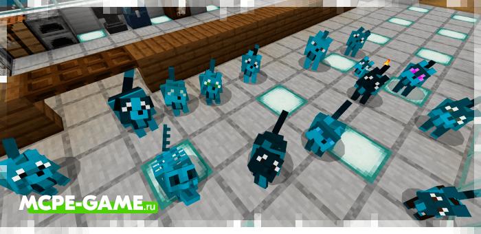 Разукрашенные волки из мода Wolves+ для Minecraft